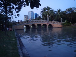 Chatuchak Park au crépuscule